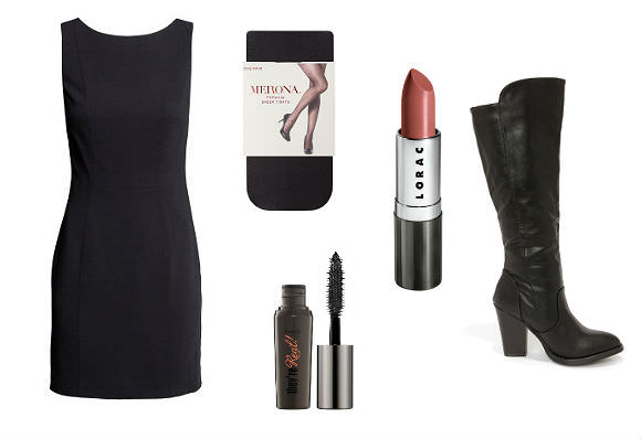 Clockwise from top left: dress; tights; lipstick; boots; mascara.