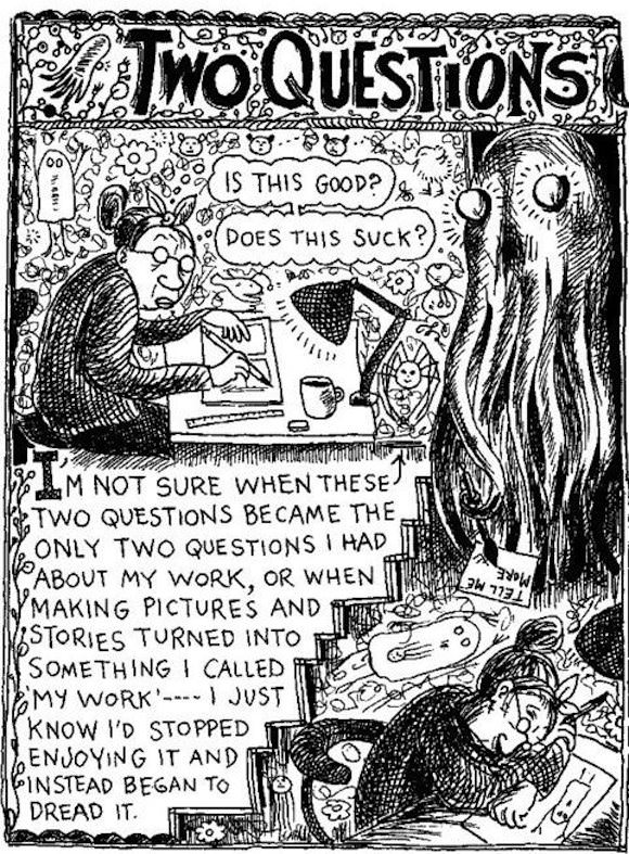 "The first panel from Lynda Barry's ""Two Questions,"" which appears in McSweeney's, Issue 13 and Lynda's magical, collage-heavy book about writing, What It Is."