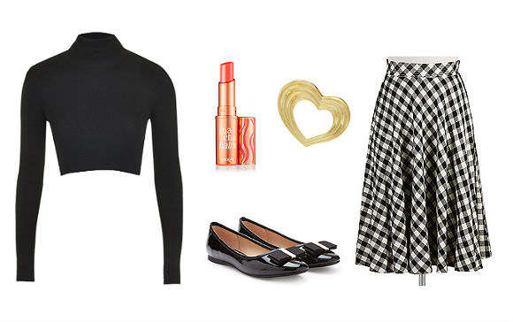 Clockwise from top left: Ribbed crop top, $52, Topshop; Cha Cha Balm, $18, Benefit; heart pin, $5, Girlprops; gingham skirt, $90, eShakti; faux patent-leather flats, $23, Forever 21.