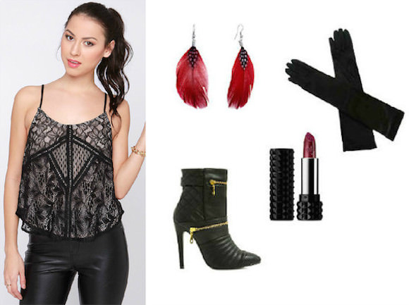 Left: Lace top, $44, Lulu's. Clockwise from top center: feather earrings, $9, Pugster; satin gloves, $15, Walmart; Kat Von D Studded Kiss lipstick, $21, Makeup Alley; faux leather booties, $49, Go Jane.