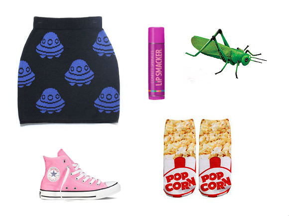 Clockwise from top left: UFO skirt, $88, Joyrich; Confetti Sprinkle lip gloss, $2.50, Lip Smacker; jumbo plastic grasshopper, $28, School Outfitters; popcorn socks, $8, Unique Vintage; Chuck Taylors, $55, Converse.