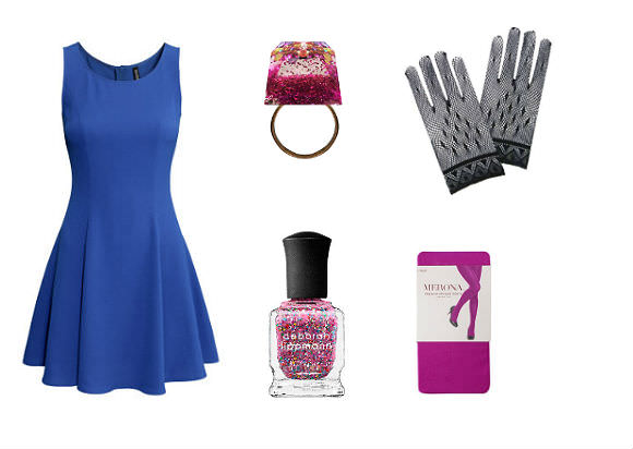 Clockwise from left: Crêpe dress, $25, H&M; Jen Cheema sparkle cocktail ring, $24, Pygmy Hippo Shoppe; fishnet gloves, $8, Pink Princess; tights, $6, Target; Deborah Lippman nail lacquer, $20, Sephora.
