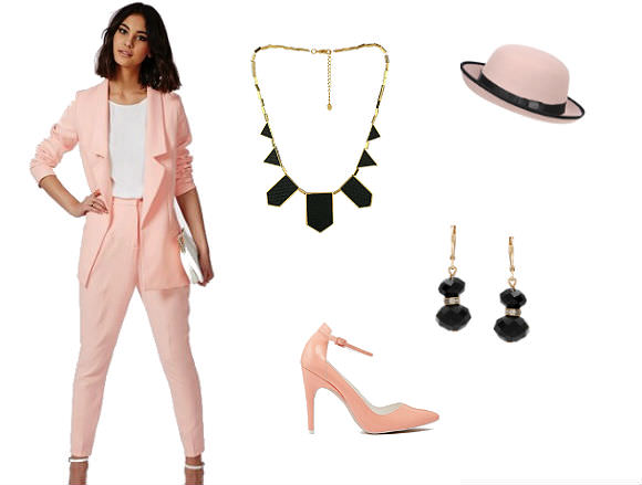 Far left: Blazer, $76, and trousers, $53, Missguided. Clockwise from top center: necklace, $75, Zappos; hat, $24, Pilotuk; earrings, $12, Overstock.com; heels, $72, ASOS.