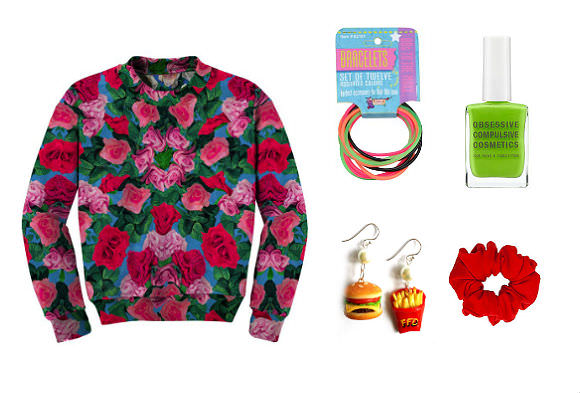 "Clockwise from far left: Reversible sweatshirt, $130, Clashist; jelly bracelets, $2.50 for set of 12, Coolglow; Obsessive Compulsive Cosmetics ""Deven Green"" nail polish, $10, Sephora; scrunchie, $6, American Apparel; cheeseburger earrings, $20, Etsy."