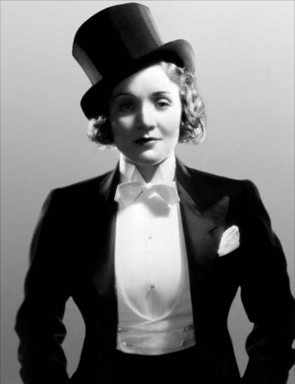 A stone cold Marlene Dietrich in a still for the 1930 film Morocco.