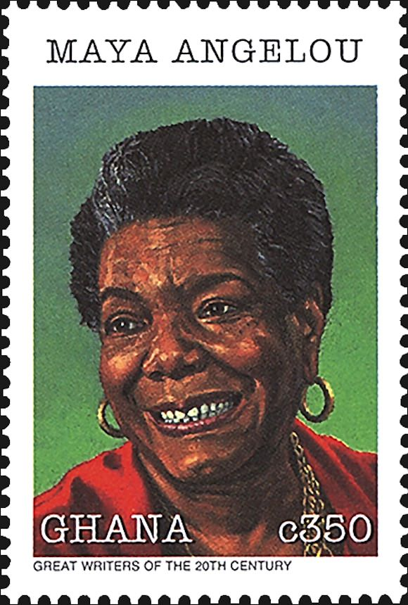 Maya Angelou has already appeared on Ghana postage stamps. Image via Linns.