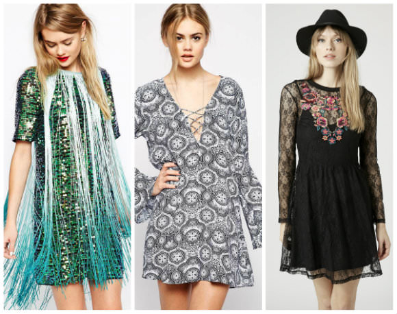 From left to right: Sequin fringe dress, ASOS, $137.57 [link: http://www.asos.com/ASOS/ASOS-T-shirt-Sequin-Fringe-Dress/Prod/pgeproduct.aspx?iid=4692586 ], Motel flare sleeve dress, ASOS, $77.04 [link: http://www.asos.com/Motel/Motel-Flare-Sleeve-Dress-With-Lace-Front-In-Egyptian-Blue-Tile-Print/Prod/pgeproduct.aspx?iid=4903646 ], Lace embroidered flippy dress, Topshop, $70 [link: http://us.topshop.com/en/tsus/product/clothing-70483/dresses-70497/lace-embroidered-flippy-dress-4075503?bi=1&ps=200 ]