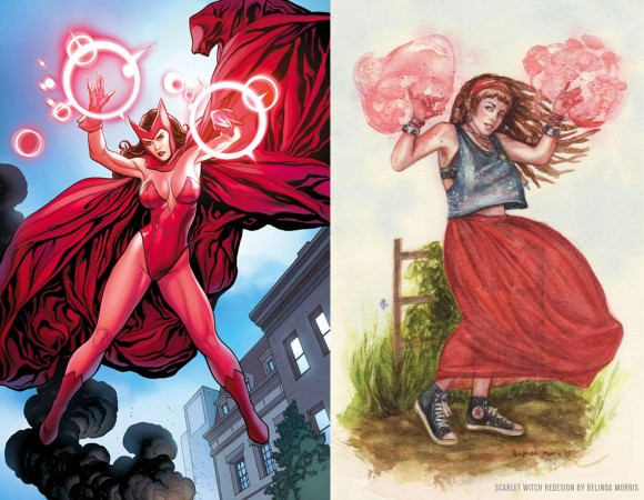 Scarlet Witch redesign by Belinda Morris, via io9.