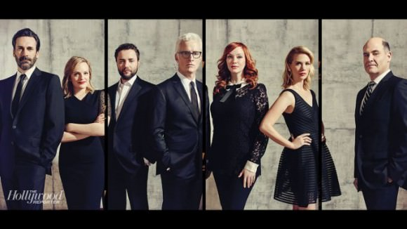 Photo of members of the Mad Men cast, and the show creator, Matthew Weiner, via the Hollywood Reporter.