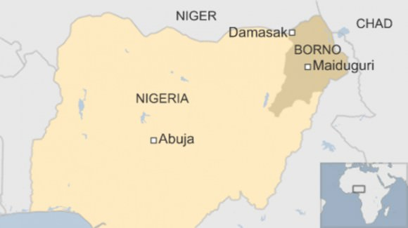 Map of Nigeria and its borders, via the BBC.