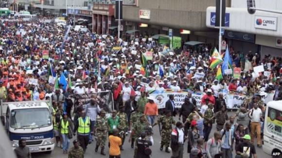 Photo of anti-xenophobia protests in Durban, South Africa, via the Guardian.