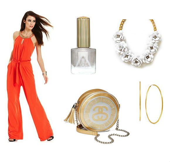 Clockwise from top left: Vince Camuto orange sleeveless jumpsuit, $118, Macy's; [link: http://www1.macys.com/shop/product/vince-camuto-sleeveless-bead-trim-blouson-jumpsuit?ID=1417240 ] 1080Pearl nail polish, $13, Floss Gloss; [link: http://flossgloss.com/collections/lacquers/products/1080pearl ], necklace, $24, Shamelessly Sparkly; [link: http://www.shamelesslysparkly.com/ProductDetails.asp?ProductCode=rosewhite ] gold hoop earrings, $22.50 Macy's; [link: http://www1.macys.com/shop/product/hint-of-gold-14k-gold-plated-brass-earrings-70mm-endless-hoop-earrings?ID=828385 ] Stüssy Sachi Shoulder Bag, $58 Nasty Gal. [link: http://www.nastygal.com/whats-new_accessories/stussy-sachi-shoulder-bag ]