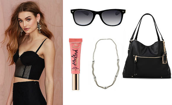 [link: http://www.nastygal.com/product/nasty-gal-black-magic-woman-bustier-top], sunglasses, $17, Target; [link: http://www.target.com/p/women-s-retro-square-sunglasses-black-white/-/A-15062614 ], Sticher Bag, $50, Aldo; [link: http://www.aldoshoes.com/us/en_US/handbags/shoulder-bags-%26-totes/c/341/STICHER/p/37960769-98 ] multistrand necklace, $13, H&M; [link: http://www.hm.com/us/product/59871?article=59871-B ],Too Faced Melted Metal lipstick in Peony, $21, Sephora. [link: http://www.sephora.com/melted-metal-P396021?skuId=1674209 ]