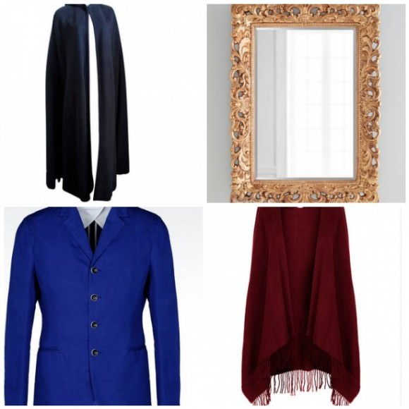 Clockwise from top left: Vintage 1970s Christian Dior black hooded cape, 1stdibs; Florence beveled mirror, $495, Horchow; super soft cape, $30, Topshop; slim fit jacket, $795, Armani.