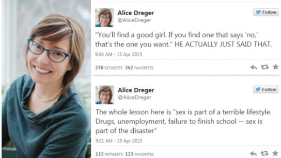 Photo of Alice Dreger and screengrab of her tweets, via CBC Radio.