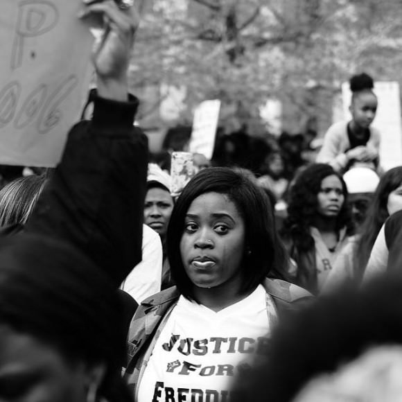 """As the family and friends of Freddie Gray spoke, she dropped a silent tear, which I felt from a distance."" Photo and caption by Devin Allen, via Instagram."