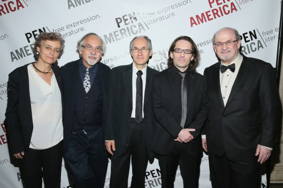 Photo of (left to right) Françoise Mouly, Art Spiegelman, Gerard Biard (Charlie Hebdo editor in chief), Jean-Baptiste Thoret (Charlie Hebdo film critic), and Salman Rushdie at the PEN awards. By Jemal Countess via the Hooded Utilitarian.