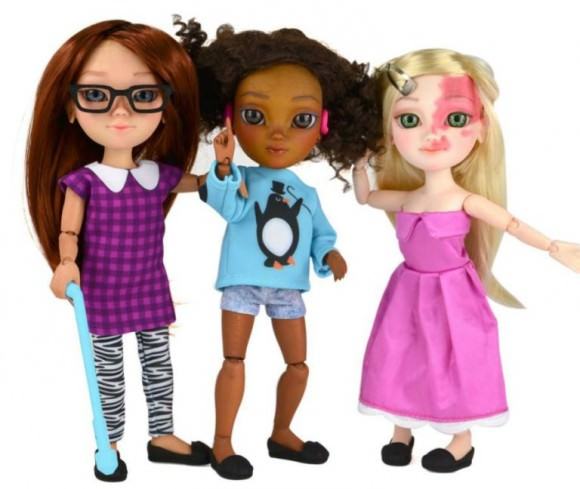 Photo of a new range of dolls  with disabilities, via Makies.