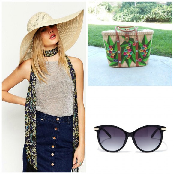 Left: straw oversized floppy hat, $29, ASOS;  Top right: extra large woven basket tote, $45, Etsy. Bottom right: huge cat-eye sunglasses, $8, Forever 21