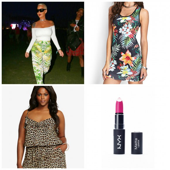 Clockwise from top left: Amber Rose nailin' this look dead; Tropical tank dress, $19.80, Forever 21, Leopard print challis romper, $48.50, Torrid, Matte Lipstick in Shocking Pink Intense, $6, NYX.