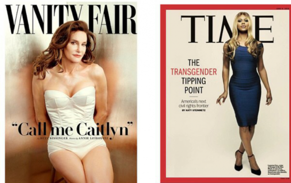 Left: Caitlyn Jenner on the cover of Vanity Fair. Right: Laverne Cox on the cover of TIME magazine, via Tumblr.
