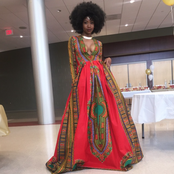 Photo of Kyemah McEntyre in her self-designed prom dress, via Teen Vogue.