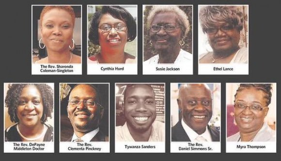 Photos of the nine people murdered in the shooting at Charleston on Wednesday June 17, via Twitter.