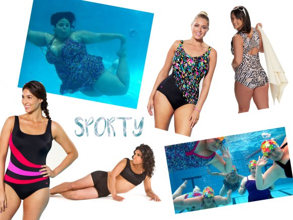 Clockwise from top left: photo via Fat Swimming; engineered swimsuit, $68, Aquabelle; tank suit, $90, Juno Active; one-piece, $39.50, Swimsuits For All; bikini in men's sizes, $65, Danae; photo via Aquaporko.