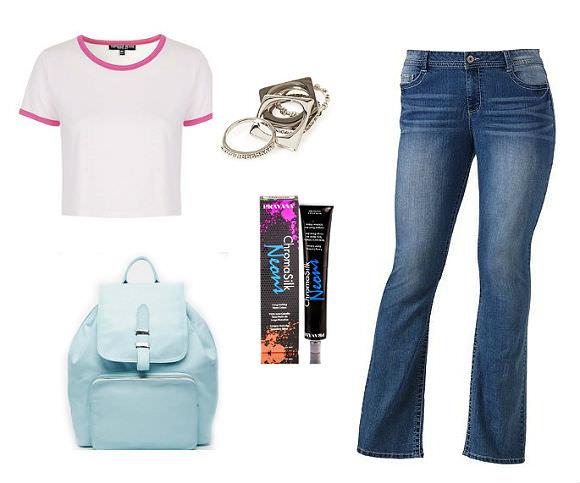 Clockwise from top left: T-shirt, $20, Topshop; ring set, $5, Forever 21; plus-size skinny jeans, $26.50, Kohl's; neon blue hair dye, $9, Sleekhair; leather backpack, $99, ASOS.