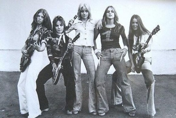 The Runaways, from left to right: Jackie Fox, Joan Jett, Cherie Currie, Sandy West, Lita Ford. Photo via Huffington Post.