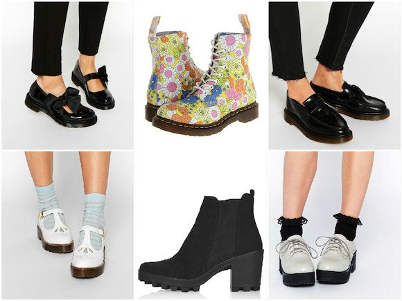 39cfb7fba659  Clockwise from top left: Dr. Martens Patent Mary Janes, $100, ASOS; Dr.  Martens Floral 8 Eye Boot, $75, 6pm; Dr. Martens Leather Tassel Loafer,  $125, ASOS; ...