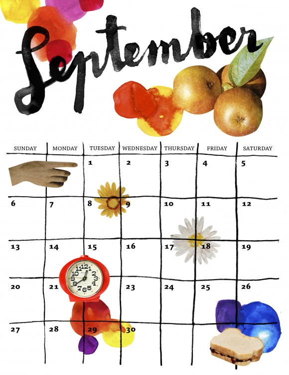 Maja-September calendar (Saturday Printable)