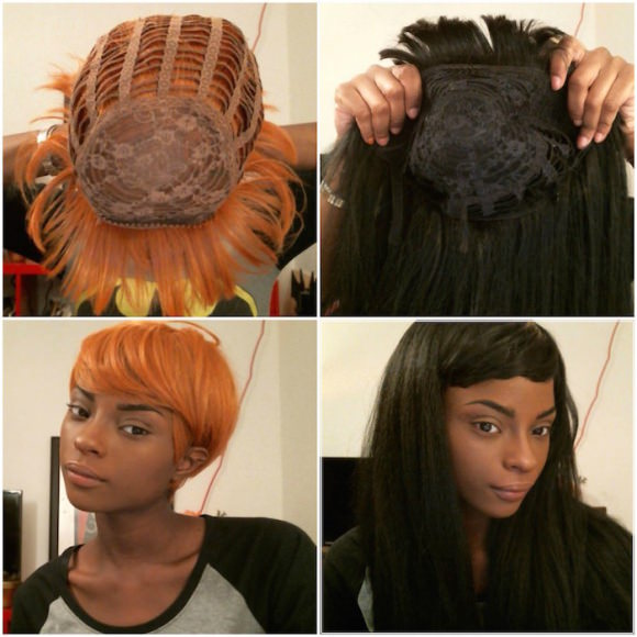 Two of my  synthetic wigs.