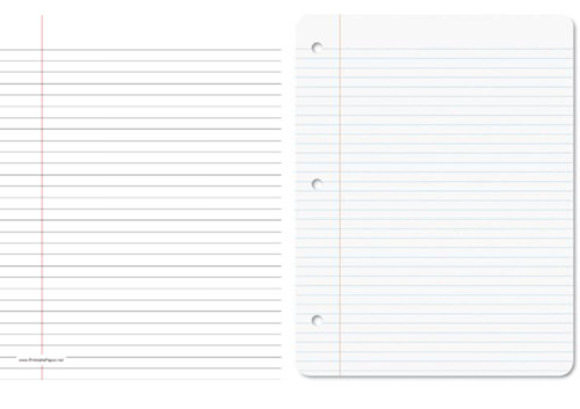 From left: College-ruled paper, $1 for 120 sheets, Staples; wide-ruled paper, $1 for 120 sheets, Staples.