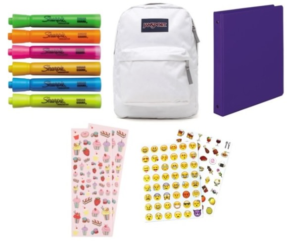 Clockwise from top left: Sharpie Accent Highlighters, $TK for 6, TK; JanSport ackpack, $36, TK; Samsill 1-inch Value Binder, $8, TK; emoji stickers, $7, TK; Strawberry Cupcake scented stickers, $2.50, TK.