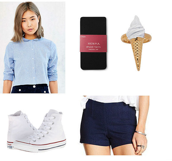 Clockwise from top left: shirt, $54, Urban Outfitters; tights, $4, Target; ice cream ring, $5, Melody Ehsani; shorts, $23, Macy's; Converse Chuck Taylors, $55, Zappos.