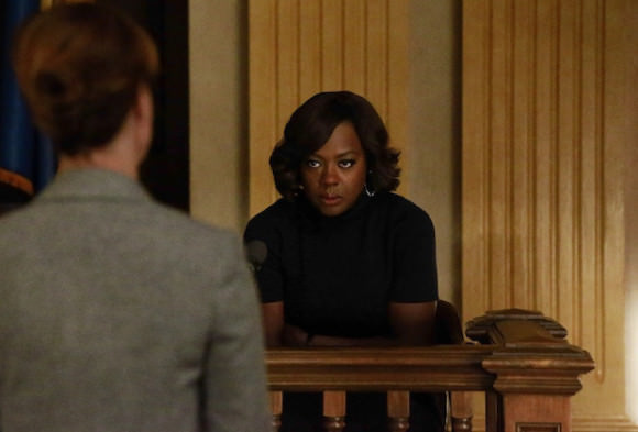 Viola Davis as Annalise Keating and Sarah Burns as Emily.