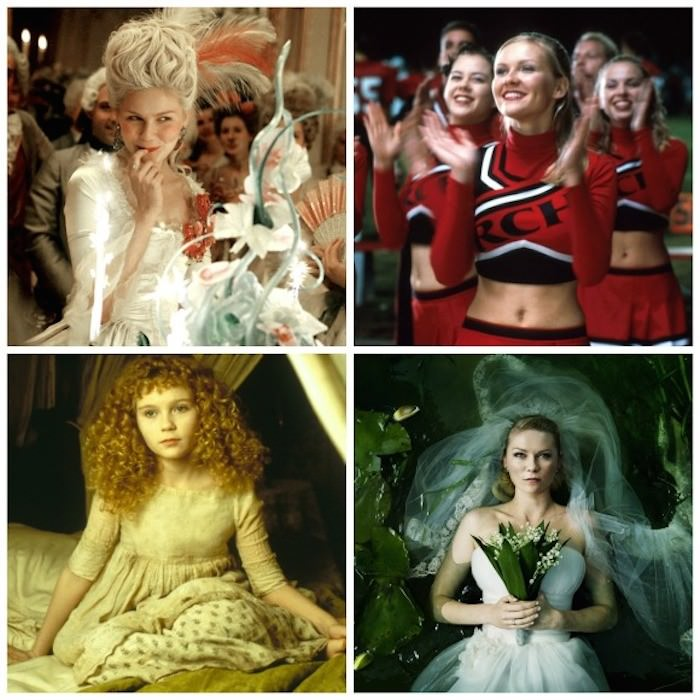 Clockwise from left: Kirsten Dunst in Marie Antoinette, Bring It On, Melancholia, and Interview With the Vampire.
