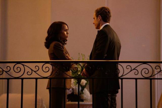 Kerry Washington as Olivia Pope and Tony Goldwyn as President Fitzgerald Grant.