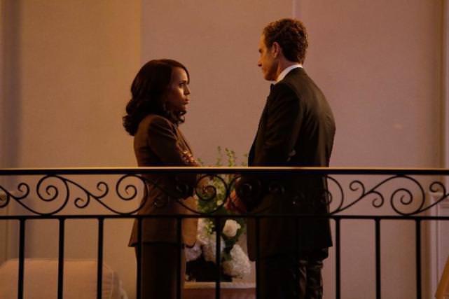 Kerry Washington as Olivia Pope and Tony Goldwyn as President Fitzgerald Grant.