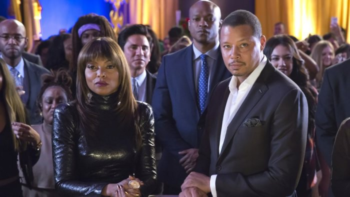 Taraji P. Henson as Cookie Lyon and Terrence Howard as Lucious Lyon on Empire.