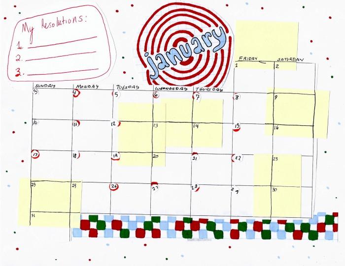 Kate Brackley-January calendar (Saturday Printable)