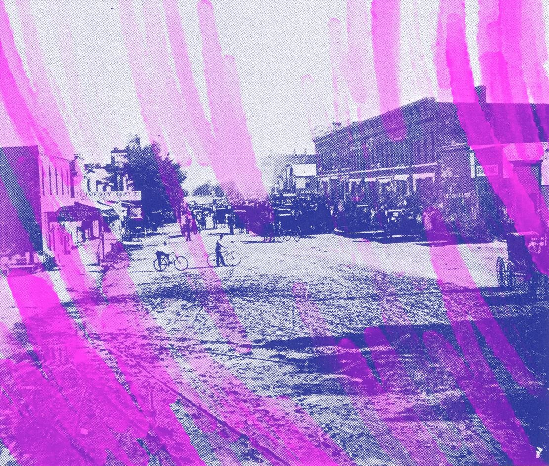 The downtown of Red Cloud, Nebraska, Cather's childhood home, in the early 1900s. (Nebraska State Historical Society). All collages by Annie Mok.