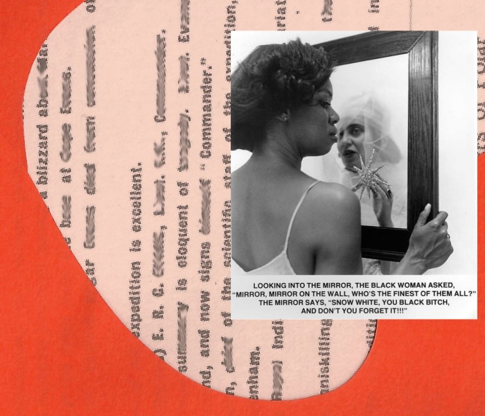 Collage by Ruby Aitken, using a photo of Carrie Mae Weems's Mirror Mirror via The New Inquiry.