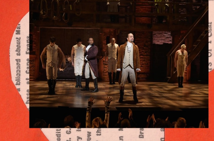 Collage by Ruby Aitken, using a photo of the cast of Hamilton via Slate.