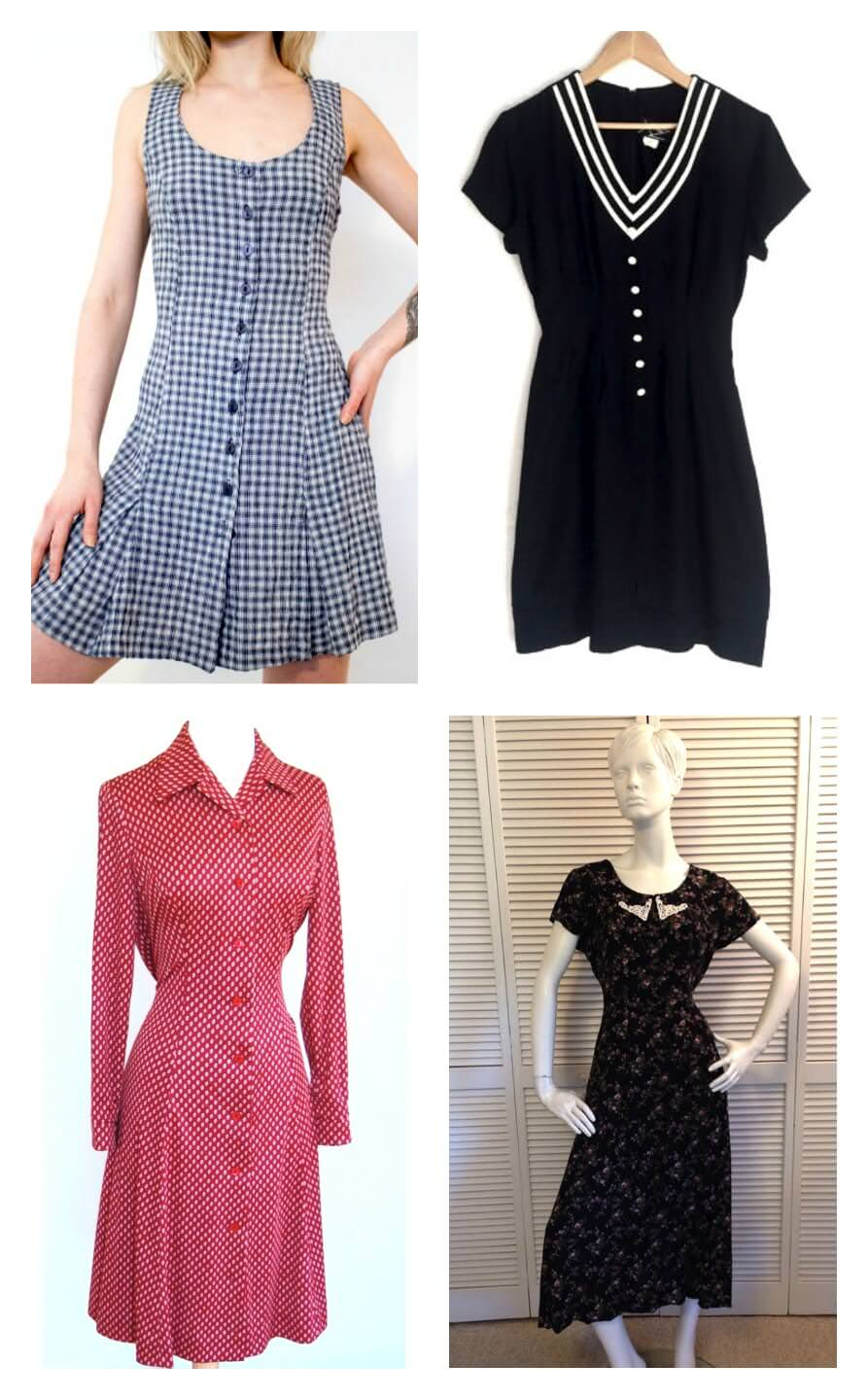 Clockwise from top left: Vintage plaid minidress, $26, Etsy; Vintage prep dress, $42, Etsy; Vintage 1970s dress, $34.99, Etsy; Vintage black floral print dress, $42, Etsy.