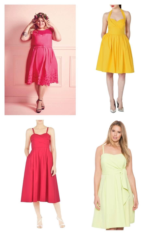 Clockwise from top left: Pink Nicolette Mason Dress, $195, Addition Elle; Brooklyn Dress, $69.95; eShakti; Hope Dress, $59.95, eShakti; Sweetheart tie dress, $110.90, Eloquii.