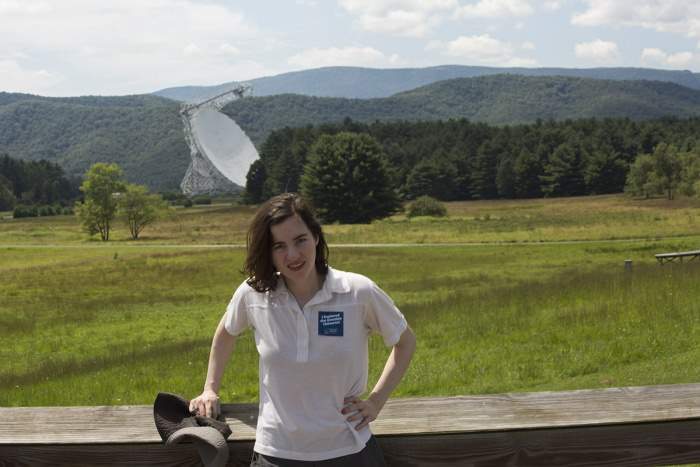Maggie visiting the Green Bank radio telescope in West Virginia.