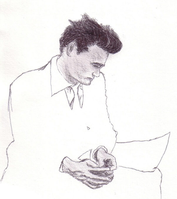I see now this drawing of Dean as a self-portrait of my state at the time more than anything—the figure is lost in their own world, incomplete.
