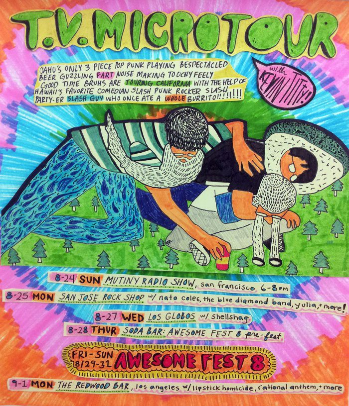 Show flyer  for the Oahu-based pop-punk band T.V. Microwave by Jhune Li.